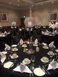 Tall 80cm Crystal globes are great and add sparkle for so many events and can be hired in The Midlands from Make It Special Events.  http://www.makeitspecialevents.co.uk/
