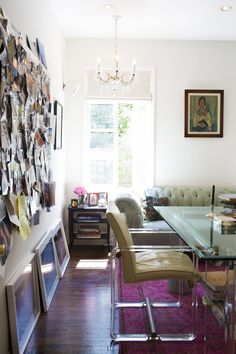 Contemporary Work Space: A mood board, offering inspiration behind a desk and chair in the work space.