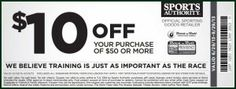 Sports Authority Printable #Coupon for $10 off.  Sporting Goods Printable Coupon for August 2013 and September 2013 provided by Rock N Roll Providence Half Marathon.