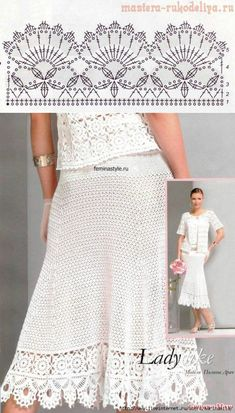 Crochet skirt PATTERN (sizes crochet TUTORIAL in English (written + charted) modern crochet See other ideas and pictures from the category menu…. Crochet Border Patterns, Crochet Skirt Pattern, Crochet Lace Edging, Crochet Skirts, Crochet Blouse, Thread Crochet, Crochet Shawl, Crochet Clothes, Crochet Stitches