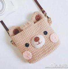 ♡♡♡ # crochet handbags for kids Crochet Wallet, Crochet Backpack, Crochet Pouch, Backpack Pattern, Cute Crochet, Crochet For Kids, Crochet Toys, Crochet Crafts, Crochet Fruit