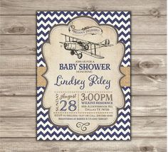 Printable Vintage Airplane Baby Shower Invitations by cardmint
