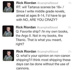 Rick Riordan tweets. This man is going to be the end of us