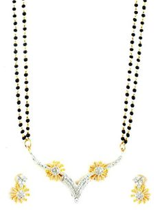 AD CZ Mangal Sutra with Chain in gold rhodium finish - MS10483CL