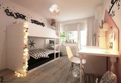 habitacion-juvenil-compartida-tonos-rosas