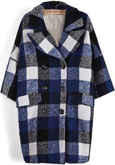 Blue Lapel Long Sleeve Plaid Pockets Coat - Sheinside.com