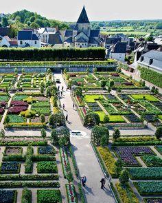 The gardens of Château de Villandry in Indre-et-Loire, France