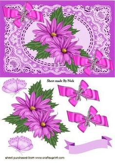 PINK FLOWERS AND PINK BOWS IN LACE FRAME on Craftsuprint - Add To Basket!