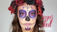 """Maquillage d'Halloween Sugar Skull ! Ces jolies têtes de mort en sucre """"calaveras"""" sont très présentes pour la fête des morts """"Días de los Muertos"""" au Mexiqu..."""