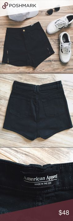 AA High Waist Shorts High waisted black denim shorts from American Apparel.  Has gold button closure and zippers on both sides of legs.  Size 26/27... Never worn/ in excellent, new condition. American Apparel Shorts Jean Shorts