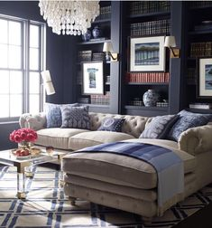 Oatmeal and navy make for a cozy reading spot.