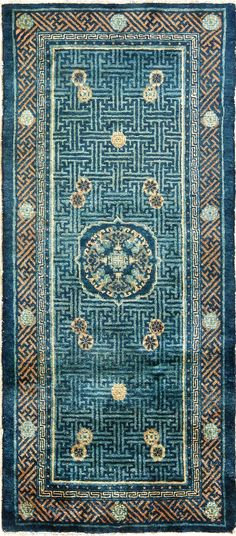 Nazmiyal's Blue Background Small Scatter Size Antique Chinese Rug 49466