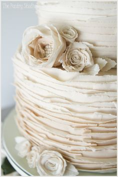Vintage Wedding Cake {Layers of White Chocolate accented with Pearled Florals} by The Pastry Studio » The Pastry Studio