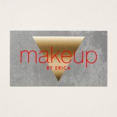 #makeupartist #businesscards - #Makeup Artist Modern Gold Triangle Grunge Grey Business Card
