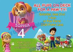 Paw Patrol Birthday Invitation Printable By PartyTimePrintables Skye Girls Party
