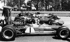 Graham Hill and Jochen Rindt make a Lotus Ferrari sandwich.