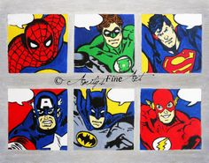"""""""Comic Book Superheroes"""" Oil Painting by Amity Jackman  Painted in 2011, Inspired by DC and Marvel Superheros* Flat Board Canvas, 14x11 inches, Oil Paint FOR SALE on Etsy.com/shop/AmitysFineArt  *This product is not manufactured, distributed, or is in no way affiliated with the Walt Disney Company and their partnering companies or DC Comics, Inc. All rights to this painting belong to Amity's Fine Art."""