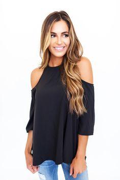 ffaea9b0053e75 Solid Black Open Shoulder Top - Dottie Couture Boutique Dottie Couture  Boutique