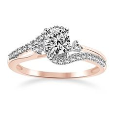 18K Rose Gold Over 1.15 Ct Round Cut Engagement Ring by JewelryHub on Opensky
