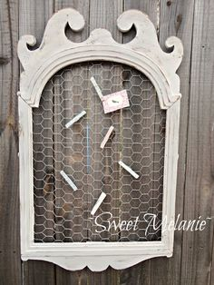 Great idea instead of a bulletin board - old frame, chicken wire & clothespins