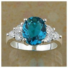 Silver Solitaire Ring Silver toned blue topaz solitaire ring, size 8 Wild Plum Boutique  Jewelry Rings