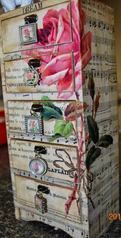 Simply Fresh Arts: Decoupage Tutorial***Lovely jewelry chest but I don't know if I have the patience. Funky Furniture, Furniture Projects, Furniture Makeover, Painted Furniture, Diy Projects, Woodworking Projects, Wicker Furniture, Dresser Furniture, Woodworking Store