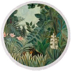 Henri Rousseau Round Beach Towel featuring the painting The Equatorial Jungle by Henri Rousseau