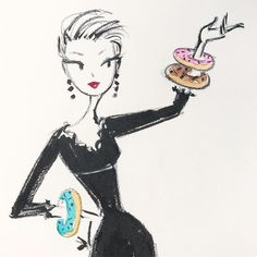 Donut Adornments ✨ #nationaldonutday • • • #fashion #sketch #donuts #jewelry #pental #friday #accessories #littleblackdress Whimsical Fashion, Whimsical Art, Barbie, Girl Sketch, Art Sketchbook, Watercolor Print, Doodle Art, Cute Drawings, Decoration