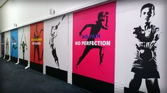Bright, functional wall graphic panels for active newham @ east ham design Office Wall Design, Gym Design, School Design, Gym Interior, Interior And Exterior, Interior Design, Best Office, Small Office, Office Wall Graphics