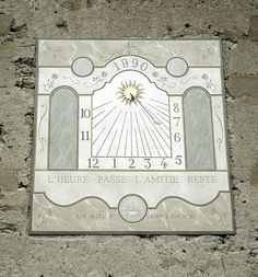 Elegant hand painted wall sundial