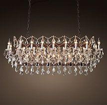 Rustic Crystal Chandeliers restoration hardware - 19th c. rococo iron & crystal chandelier