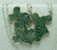 Puzzle Piece Interlocking Necklaces leaf by GirlwithaFrogTattoo