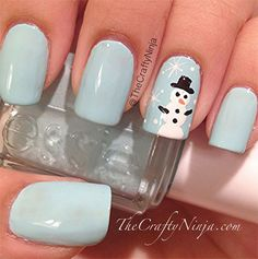 I am showcasing very easy winter nail art designs of for beginners and learners. How can hands and nails be neglected. Xmas Nails, Holiday Nails, Christmas Nails, Winter Christmas, Christmas Bunny, Blue Christmas, Winter Holidays, Christmas Time, Cute Nail Art