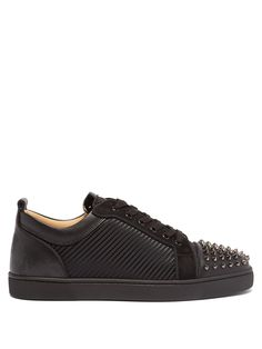 Grosgrain, Hooded Sweatshirts, All Black Sneakers, Patent Leather, Casual Shoes, Calves, Christian Louboutin, Footwear
