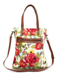 Pixilated Floral Canvas Tote - $19.99 Twin handles. Adjustable purse strap is detachable to switch between functionality of a purse and handbag/tote.