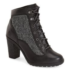 """Timberland 'GlancyHiker' Boot, 3"""" heel ($130) ❤ liked on Polyvore featuring shoes, boots, ankle booties, ankle boots, black, black bootie, black lace up boots, black high heel booties and black boots"""