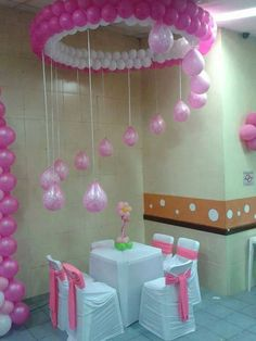 40 Creative Balloon Decoration Ideas for Parties - 40 Creative Balloon Decoration Ideas for Parties Ballon iDeen 🎈 Baby Shower Balloon Decorations, Baby Shower Balloons, Birthday Party Decorations, Party Themes, Birthday Parties, Balloon Ideas, Surprise Birthday, Party Ideas, Pink Birthday