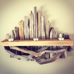 Custom made to order driftwood candle mantels