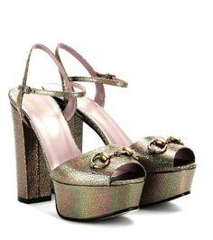 2109a150ee5e Gucci - Metallic-leather platform sandals - mytheresa.com GmbH Gucci Shoes
