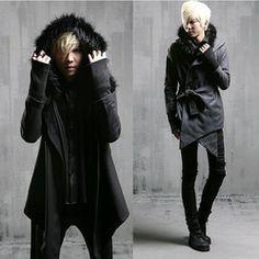 Online Shop Fashion Mens Wool Coats Winter 2014 Pea Coats Men Fur Hooded Long Jacket Men Trench Coat With Belt,Black Dark Grey,M-XL,Free |Aliexpress Mobile