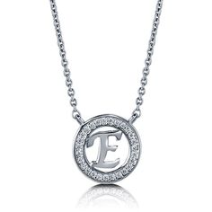 """BERRICLE Sterling Silver CZ Personalized Initial Letter """"""""E"""""""" Pendant... ($49) ❤ liked on Polyvore"""