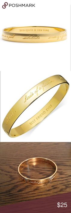 "kate spade bracelet 12k gold plated ""Bridesmaid Bangle"" about 2.5"" diameter. Inside is engraved with ""kate spade ♠️ New York"" and "" BEST FRIEND EVER."" Outside has the following engraved in cute cursive font: birds of a feather, two of a kind, perfect pair, partners in crime, peas in a pod. Worn once and does have a few minor scratches because is it shiny. See pics kate spade Jewelry Bracelets"