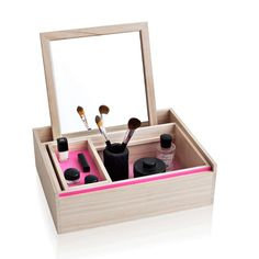 "main image of Balsabox ""Personal"" Jewelry/collection of organizing boxes aptly called Balsabox. The Balsabox Personal box contains a narrow box within a larger box within the outside box. The first two smaller boxes boast a wash of hot pink on the inside base"
