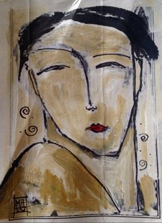 Abstract Faces, Portrait Paintings, People Art, Art Journal Inspiration, Vintage Girls, Abstract Watercolor, Fabric Painting, Face Art, Figurative