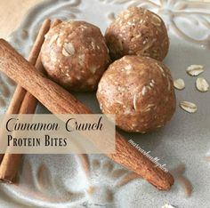n here.  Go ahead and pin this one for later because, trust me, you NEED to make these!  Cinnamon Crunch Protein Bites  Cinnamon Crunch Protein Bites Print Author: Marcia K. Prep time: 15 mins Total time: 15 mins Serves: 16-18 bites Ingredients 1C Oats ¼C Quest Cinnamon Crunch Protein Powder ½C Nut Butter of your choice (I used almond) 2t Cinnamon ⅓-1/2C Maple Syrup 1t vanilla extract 1-2T coconut oil, melted 1T Chia Seeds 2T Ground Flaxseeds Pinch of Sea Salt Instructions Combine dry…