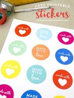 """Free Printable """"Made with love"""" stickers // Perfect to use for DIY and homemade gifts // Designs from Elegance & Enchantment"""
