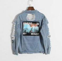 Where is my mind - Light Blue Ripped Denim Jacket            – Aesthetic Outfits