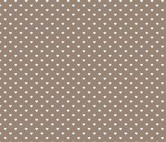 Mocha Brown Polka Dot Hearts fabric by sweetzoeshop on Spoonflower - custom fabric
