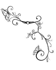 ivy vine tattoo design drawings | Butterfly Vines Art Print