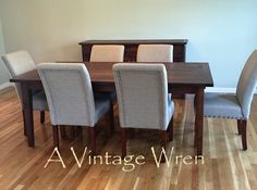 """Custom made farm table in our """"Heirloom Collection"""" stained in a match to """"English Chestnut"""". This piece was made in conjunction with a sideboard buffet, bench and a pair of floating shelves https://www.facebook.com/AVintageWren"""